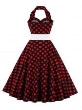 1950's Vintage Halter Polka Dot Casual Swing Dress Black Red