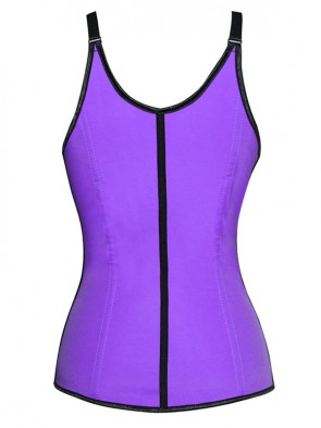 Sexy Purple Latex Steel Bone Vest Underbust Corset