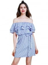 Women's Blue Off Shoulder Falbala Cap Sleeve Vertical Striped Mini Dress