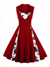 Vintage Rockabilly Floral Print Sleeveless Casual Cocktail Dress Wine Red