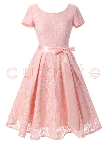 Vintage Floral Lace Short Sleeve Evening Party Swing Dress Pink