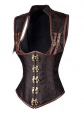 Steampunk Brown Steel Boned Jacquard High Neck Buck Closure Vest Underbust Corset