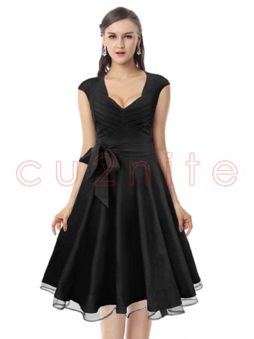 Elegant Vintage Black Flared Cocktail Party Swing Dress