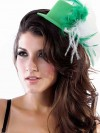 Green Mini Hat With White And Green Feather