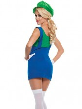 Super Mario Bros Green Plumber Womens Costume