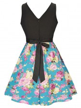 Women's Vintage Sleeveless Floral Swing Dress With Belt Mix