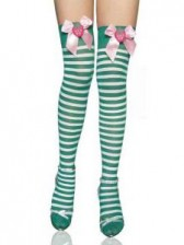 Strawberry Striped Holiday Thigh Highs - Green