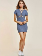 Women's Sexy Front Lace Up Sleeve V Neck Bodycon Dresses
