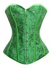 Fashion Green Satin Jacquard Weave Lace Up Halloween Corset