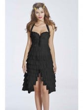 Burlesque Sexy Black Halter Ruffles Tutu Corset Dress