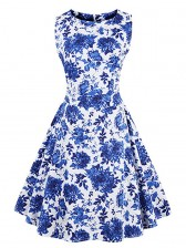 1950's Vintage Floral Print Sleeveless Casual Cocktail Party Swing Dress