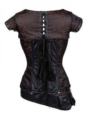 Steel Boned Steampunk Retro Coffee-brown Jacquard with Jacket and Belt Corset