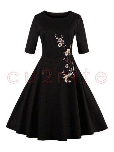 Vintage Black Half Sleeves Embroidery Casual Cocktail Party Dress