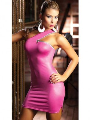 Zipper Shoulder Mini Dress - Hot Pink
