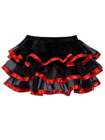 Burlesque Tulle Pettiskirt with Red Satin Trim