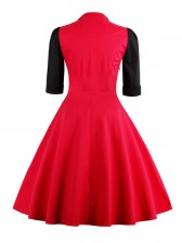 Vintage Retro Patchwork Cocktail Party Swing Valentine's Day Dress