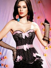 Sweet Lace Pink Polka Dot Women Corset