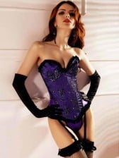 Long Lined Purple Corset with Detachable Garter Belts