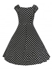 Classical 1950's Vintage Polka Dot Print Casual Dress Black