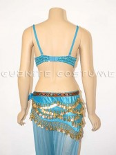 Deluxe Sequined Belly Dancer Bra and Hip Scarf Set - Blue