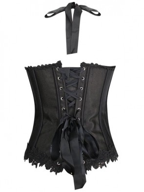 Unique Black Satin Halter Neck Red Jacquard Weave Corset