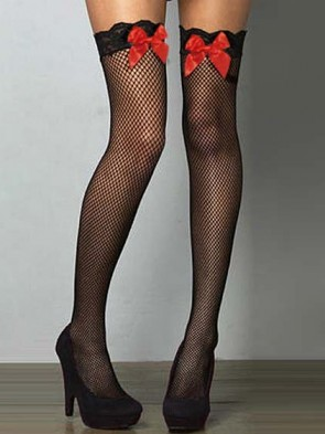 Fishnet Lace Top Thigh High with Red Satin Bows