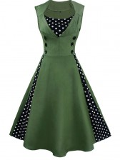 Vintage Rockabilly Polka Dot Print Sleeveless Casual Cocktail Party Dress Dark Green