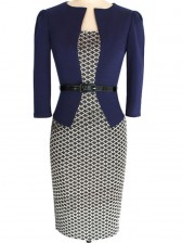 Vintage Office Lady One-Piece Patchwork Bodycon Dress with Belt