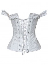 White Tie-Strap Embroidered Corset