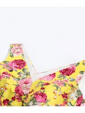 1950's Vintage Floral Print Casual Dress Yellow