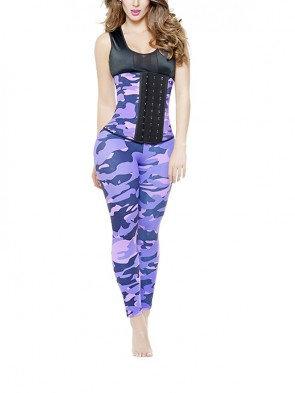 Fashion Camouflage Athletic Underbust Steel Bone Corset Top and Yoga Leggings Set