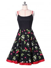 Sexy Red Strap Cherry Floral Print Casual Swing Dress