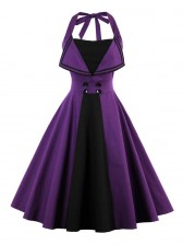 Women's Retro Summer Backless Halter Swing Dress