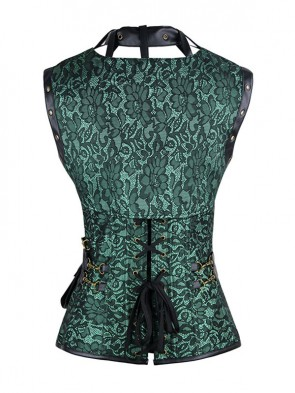 Steampunk Gothic Vintage Green Steel Boned Overbust Corset for Halloween