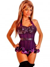 Purple Sequin Halter Top Corset