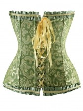Embroidered Front Zipper Corset