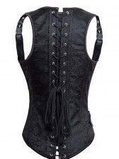 Fashion Black Jacquard Weave Leather Strap Steel Bone Punk Underbust Corset
