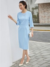 Graceful Plain Light Blue Round Neck 3/4 Sleeves Women's Midi Dress