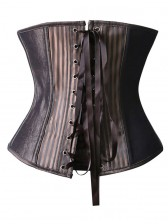 Fashion Striped Brown Steampunk Steel Bone Zipper Underbust Corset