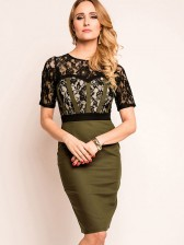 Women's Fashion Round Neck Floral Lace Short Sleeve Patchwork Bodycon Dress