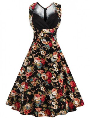 Women's 1950's Vintage Floral Cut Out V-Neck Casual Party Cocktail Dress