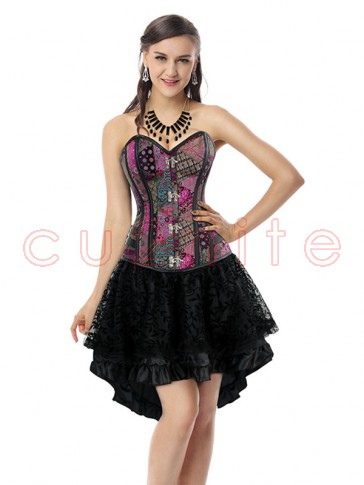 Steampunk Gothic Vintage Jacquard Overbust Corset And Skirt Set