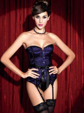 Burlesque Showgirl Satin & Lace Overlay Corset - Purple