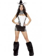 Zebra Halloween Costume with Fur Boot Covers