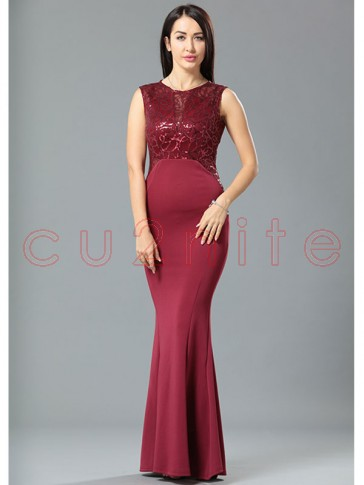 Graceful Wine Red Sequined Evening Party Dress