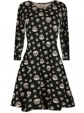 Women 's Halloween Skull Print Round Neck Long Sleeve A-line Mini Dress