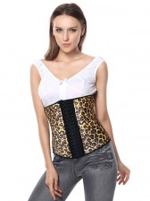 Sexy Yellow Steel Bone Latex Leopard Patterns Underbust Corset