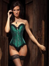 Beauty Floral Burlesque Corset Green