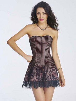 Gothic Sexy Dark-Red Strapless Stripe Lace Corset Dress