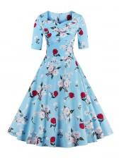 1950's Vintage Blue Short Sleeves Casual Cocktail Party Dress